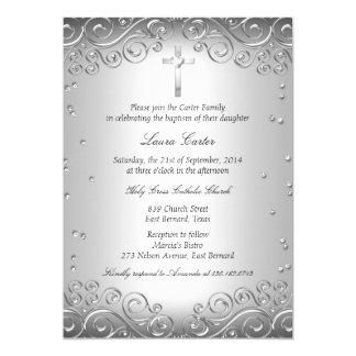 Zilveren Werveling & DwarsDoopsel/Doopsel 12,7x17,8 Uitnodiging Kaart