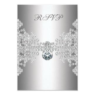 Zilveren Wit Snoepje Zestien Verjaardag RSVP van 8,9x12,7 Uitnodiging Kaart
