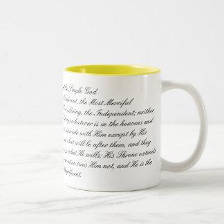 Zin van de Troon van de Enige God Tweekleurige Koffiemok