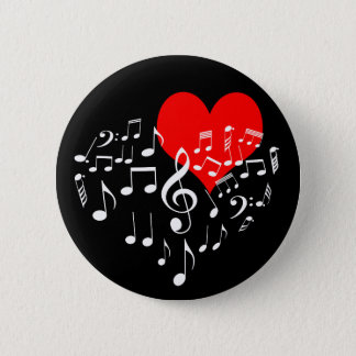 Zingend Hart one-of-a-kind romantische zwarte Ronde Button 5,7 Cm