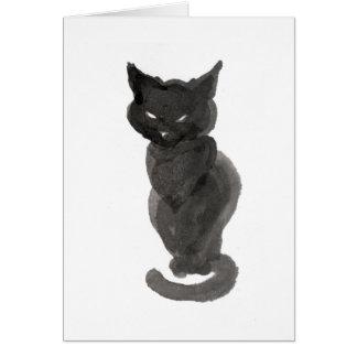 Zittende zwarte kat notitiekaart