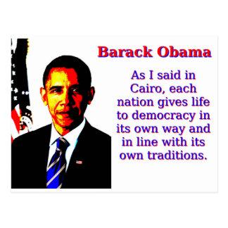 Zoals ik in Kaïro - Barack Obama zei Briefkaart