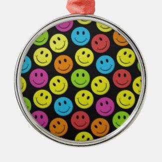 Zoet Gezicht Smiley Zilverkleurig Rond Ornament