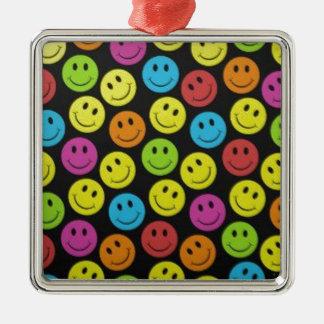 Zoet Gezicht Smiley Zilverkleurig Vierkant Ornament