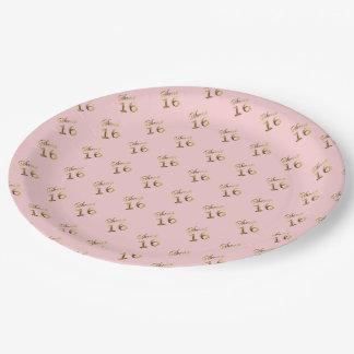 Zoet Goud 16 kijkt Roze Elegant van de Typografie Papieren Bordje