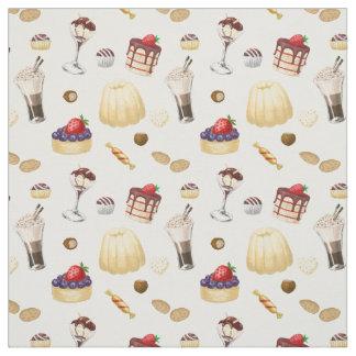 Zoet patroon met diverse desserts stof