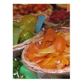 Zoete gekonfijte vruchtschillen. Italiaans recept Briefkaart