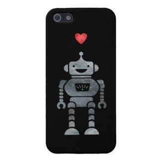 Zoete, Gelukkige Robot met Weinig Rood Hart iPhone 5 Cases