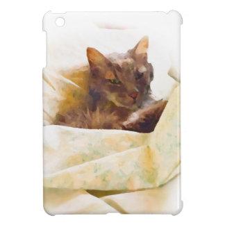 Zoete kat in bedbladen hoesjes voor iPad mini