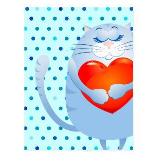 Zoete kat in liefde, briefkaart