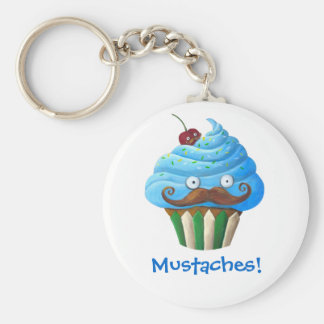 Zoete Mustached Cupcake Basic Ronde Button Sleutelhanger