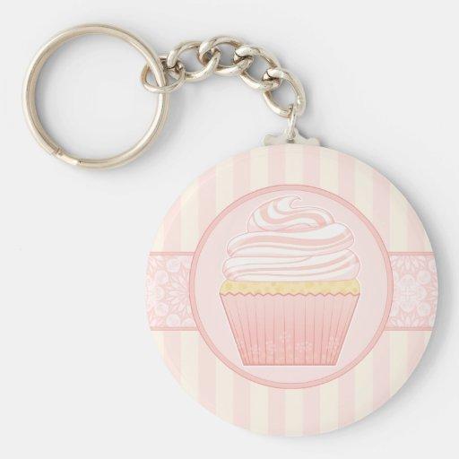 Zoete Roze Elegante Cupcake Sleutelhangers