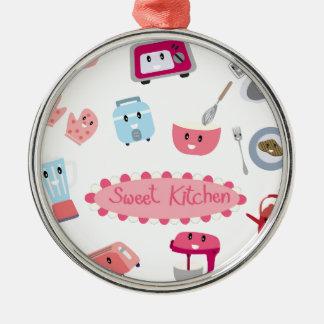 Zoete roze keukenelektriciteit en hulpmiddel leuk zilverkleurig rond ornament