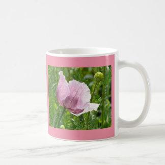Zoete Roze Papaver met regendruppels Koffiemok