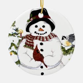 Zoete snowlady en hoofd, chickadeeornament rond keramisch ornament