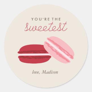Zoete Valentijnsdag Macarons Ronde Sticker