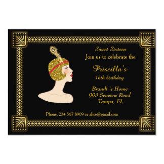 Zoete verjaardag Zestien, stijl Gatsby, zwarte & 12,7x17,8 Uitnodiging Kaart