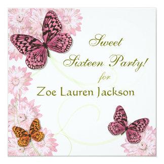 Zoete Vlinder 16 en Daisy Invitation Card 13,3x13,3 Vierkante Uitnodiging Kaart