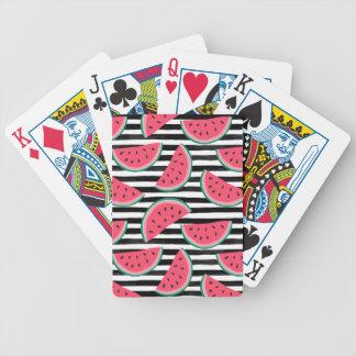 Zoete Watermeloen op het Zwarte & Witte Patroon Poker Kaarten