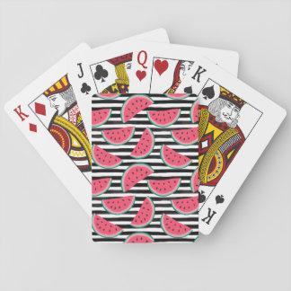 Zoete Watermeloen op het Zwarte & Witte Patroon Speelkaarten