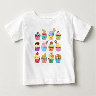 Zoetigheden van het Monogram van Cupcakes de Baby T Shirts
