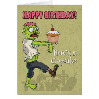 Zombie met een Grappige Kaart van de Verjaardag
