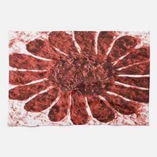 zon bloem in rode kleur theedoeken