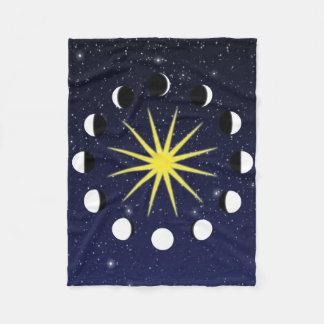 Zon, de Fasen van de Maan, en Sterren Fleece Deken