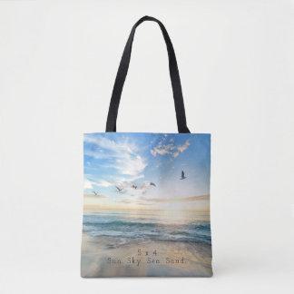 Zon. Hemel. Zee. Zand. De Scène van het strand Draagtas