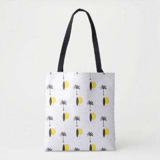 Zon, surfplank, en de zak van het palmbolsa draagtas
