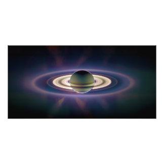 Zonne Verduistering van Saturn van Ruimtevaartuig  Fotografische Afdruk