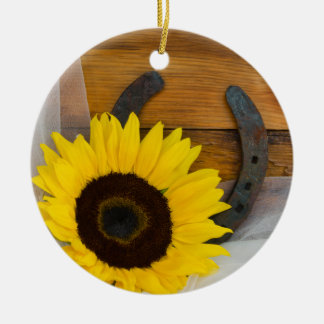 Zonnebloem en het Hoefijzer Westerne Huwelijk van Rond Keramisch Ornament