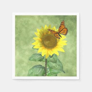 Zonnebloem en Vlinder Papieren Servet