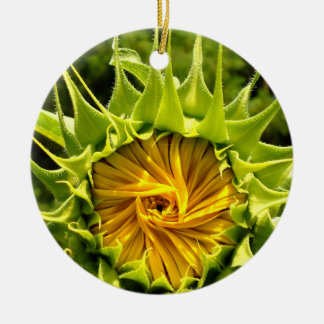 Zonnebloem Rond Keramisch Ornament
