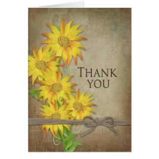 Zonnebloemen - dank u - Bruine Textuur Kaart