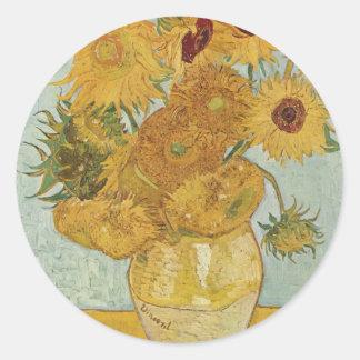 Zonnebloemen - Vincent van Gogh Ronde Sticker