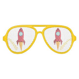 zonnebril met rode raket en geel lijst