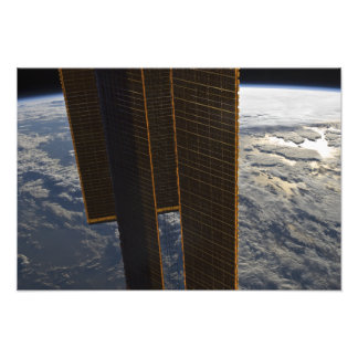 Zonnepanelen van het Internationale Ruimtestation Fotoafdruk