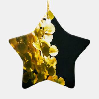 Zonnige bladeren keramisch ster ornament