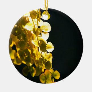 Zonnige bladeren rond keramisch ornament