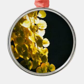 Zonnige bladeren zilverkleurig rond ornament