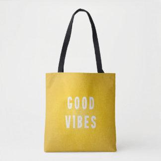 Zonnige Gele en Witte Goede Vakantie Vibes/Strand Draagtas
