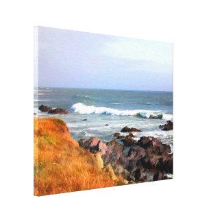 Zonnige OceaanOever Cambria Californië Canvas Print