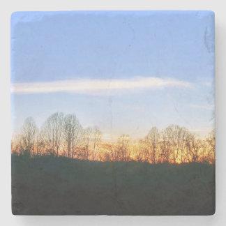 Zonsondergang achter Bomen Stenen Onderzetter