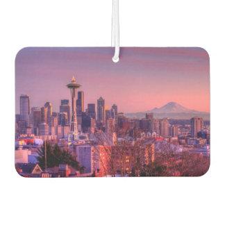 Zonsondergang achter de horizon van Seattle van Luchtverfrisser