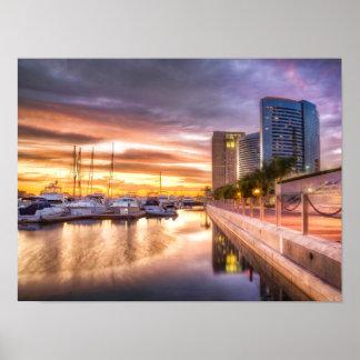 Zonsondergang bij de Haven San Diego Californië Poster