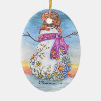 Zonsondergang Daisy Snowman Keramisch Ovaal Ornament