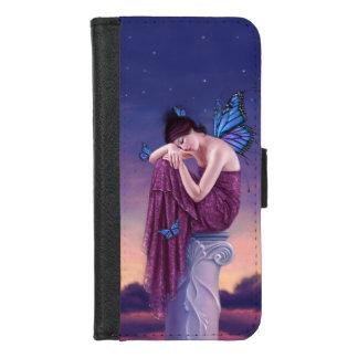 Zonsondergang - de Blauwe Fee van de Vlinder van iPhone 8/7 Portemonnee Hoesje