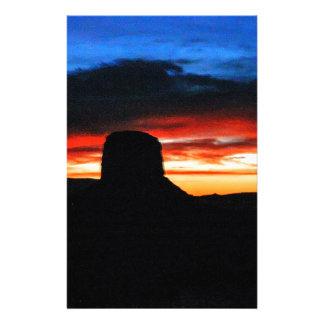 Zonsondergang, de Vallei van het Monument, UT Briefpapier