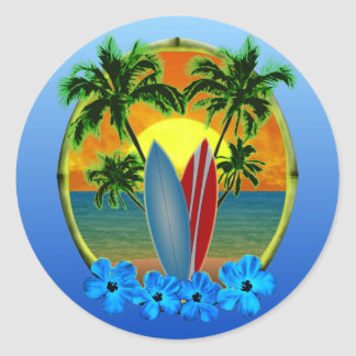Zonsondergang en Surfplanken Ronde Sticker